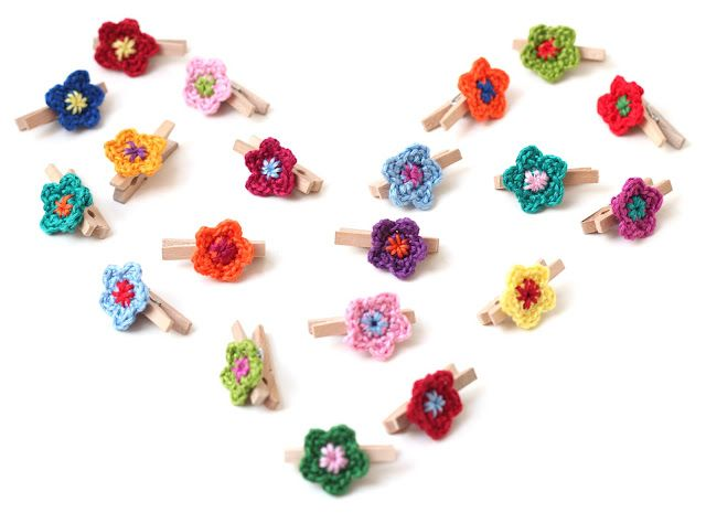 Crocheted Flower Pegs! | My Projects | Pinterest