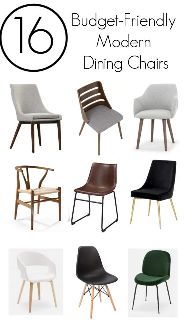 16 amazing modern dining chairs! Perfect for the kitchen, dining room, or desk. These chairs are affordable, comfortable, and beautiful! Every style including wooden, leather, fabric, velvet and rattan. Love the mix of styles including mid-century modern, scandinavian, and contemporary! #diningchair #modern #midcenturymodern #diningroom