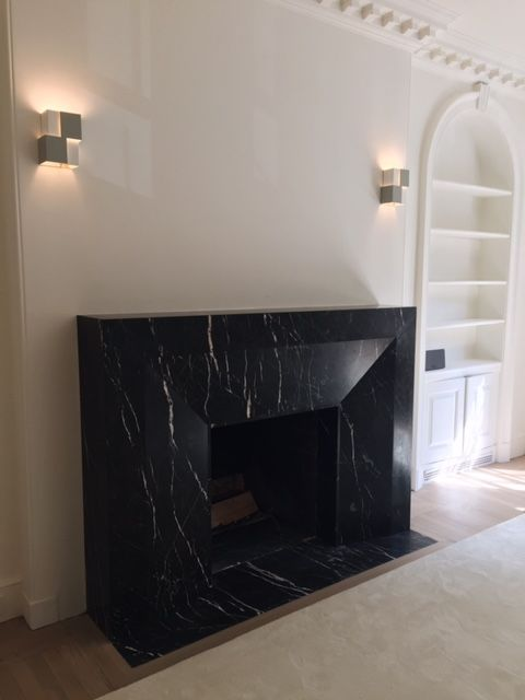 Custom Fireplace Surround Done In Nero, Black Marble Fireplace Surround Ideas