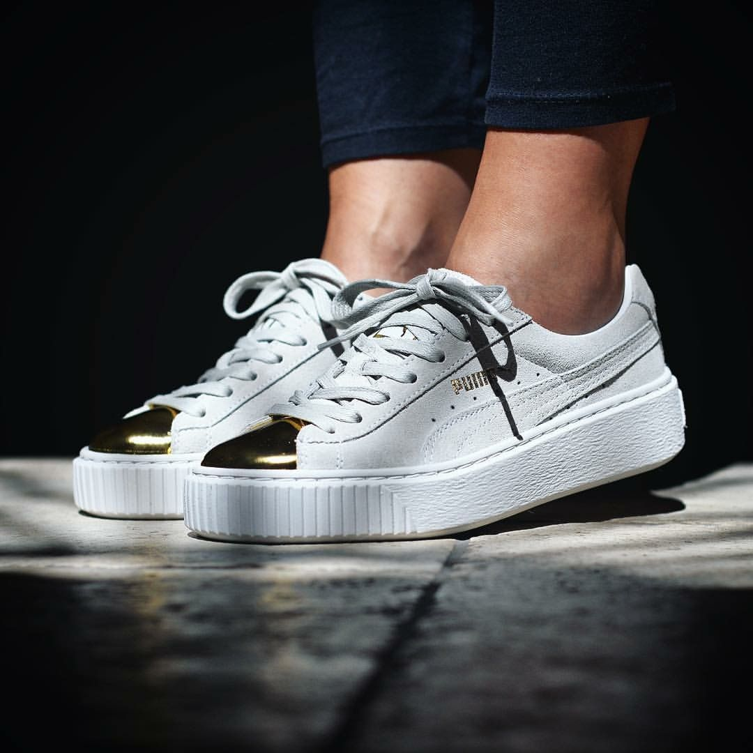 puma basket platform metallic rose