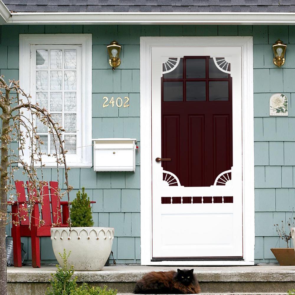 Kimberly Bay 36 In X 80 In Dakota White Vinyl Screen Door Dsvd36 With Images Wood Exterior Door Window Trim Exterior Vinyl Screen Doors