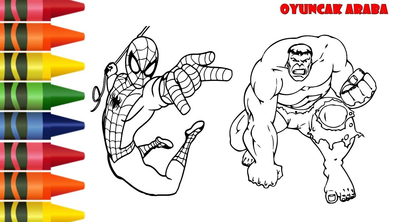 Spiderman Ve Hulk Boyama Hulk Oyuncak Araba Entertainment