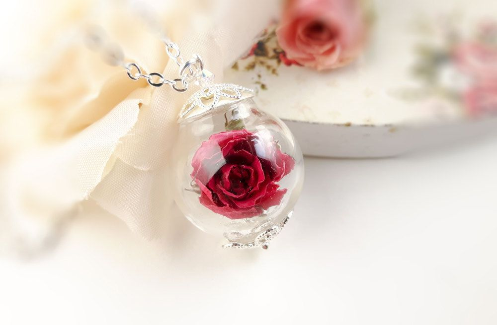 Real Rose Necklace Real Flower Necklace Red Rose Necklace Etsy Rose Necklace Flower Necklace Romantic Gift