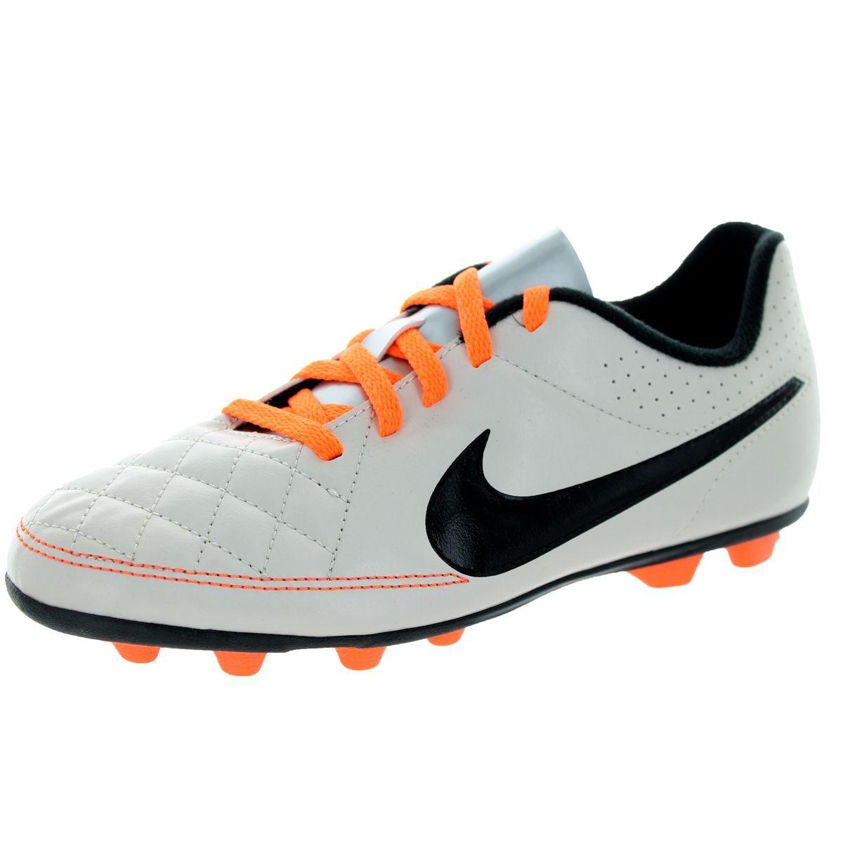 Nike Kid's Jr Tiempo Rio II Fg-R Desert Sand/Black/Atmc Orange Soccer Cleat