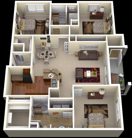 147 Modern House Plan Designs Free Download Three Bedroom House Plan House Layout Plans Home Design Plans