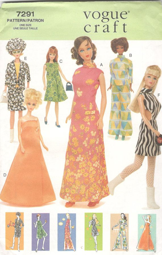 Vogue 7291 1960s Style Mod Doll Clothes Pattern 11 1/2 Barbie ...