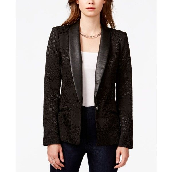 scarpe autunnali salvare sito autorizzato Guess Leopard-Print Faux-Leather-Detail Blazer ($98) ❤ liked on ...