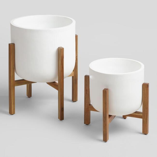 Cost Plus Furniture Sale: White Ceramic Sevilla Outdoor Planter Collection