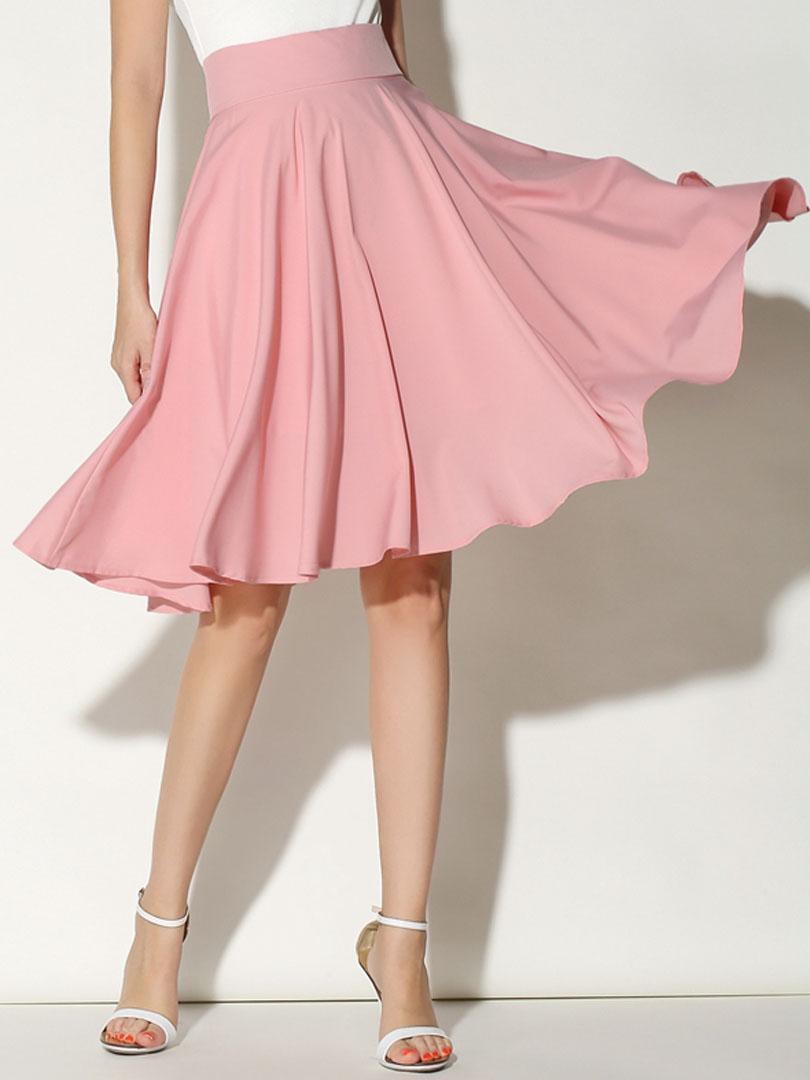Pink High Waist Midi Skater Skirt
