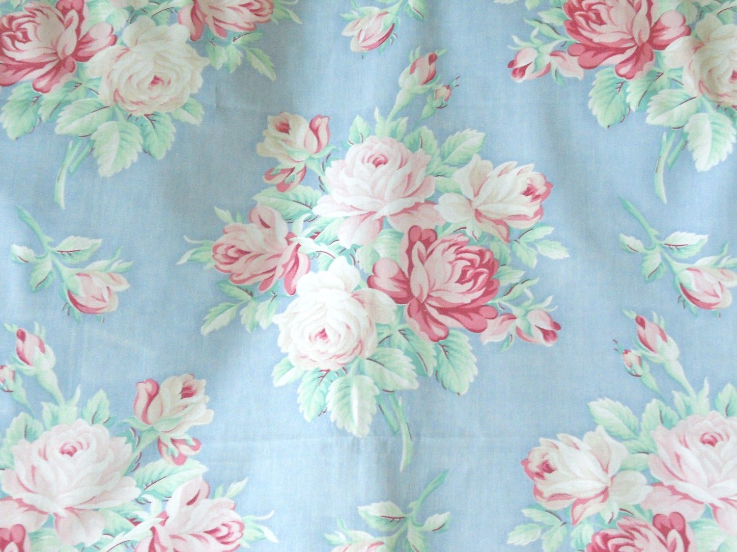 1940s muted pink english cabbage rose vintage fabric pale sky blue