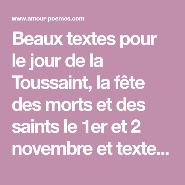 Beaux Textes Pour Le Jour De La Toussaint La Fête Des Morts