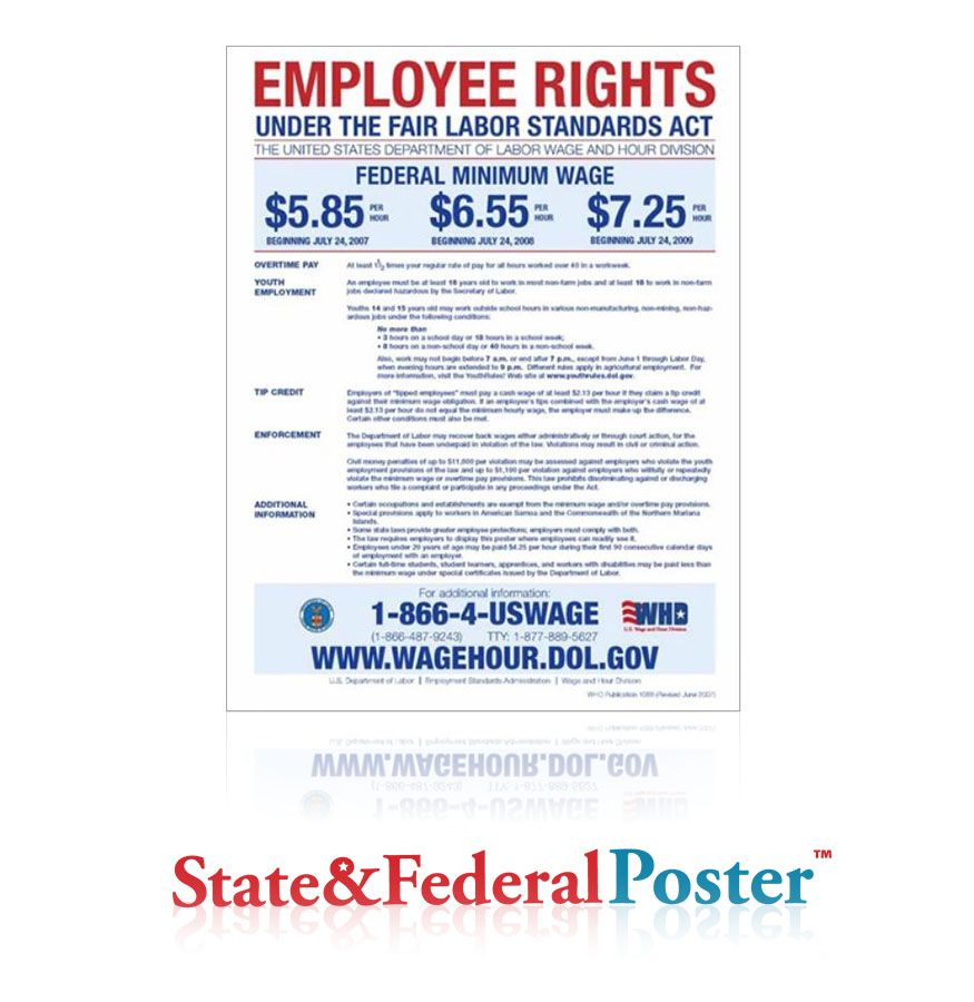 Fair Labor Standards Act Flsa Minimum Wage Poster Every