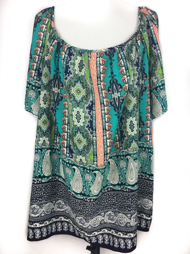 e8380184a9b43 MOA MOA Top Plus Size 3X Cold Shoulder Scoop Neck Turquoise Paisley Boho  Scoop  MoaMoa  Blouse  Casual