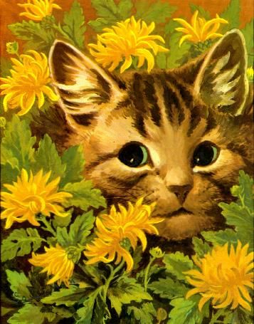 Cat Flower Louis Wain Ilration Painting