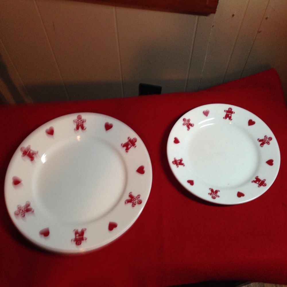 Corelle Gingerbread Man u0026 Red Heart Christmas Plates #Corning & Corelle Gingerbread Man u0026 Red Heart Christmas Plates #Corning ...