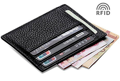 Slim Unisex Black Real Leather Credit Card Holder Thin Wallet Case