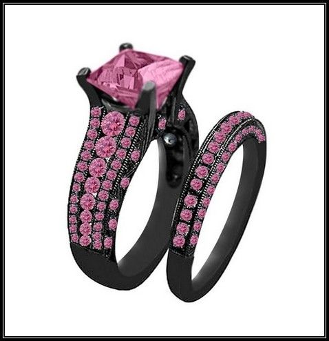 very good black gold with pink diamond engagement rings more design httparticleall - All Black Wedding Rings