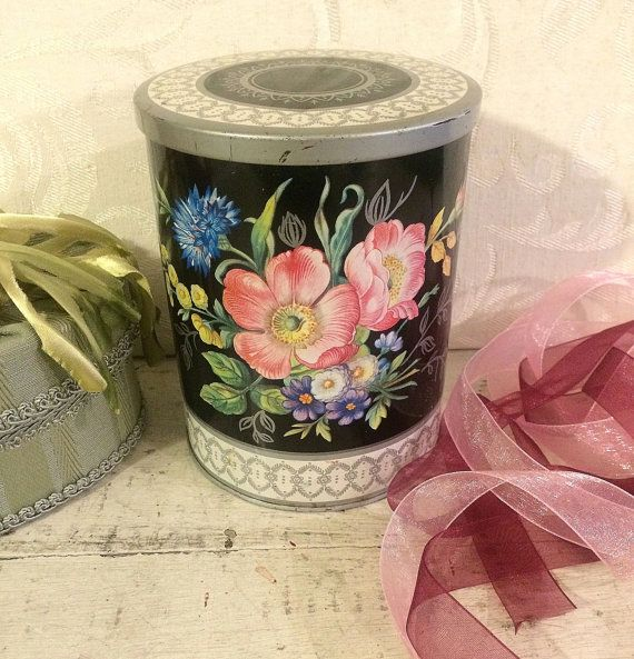 Mid Century Tin Box Floral Flowers Colorful on by tinprincess