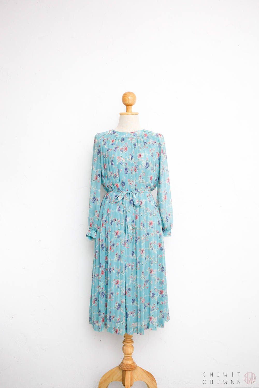 Vintage 70s Dress | Japanese Vintage Dress | Sheer Chiffon Pleated ...
