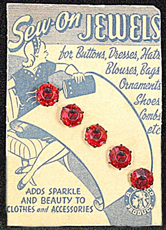 ButtonArtMuseum.com - Vintage red glass buttons on card