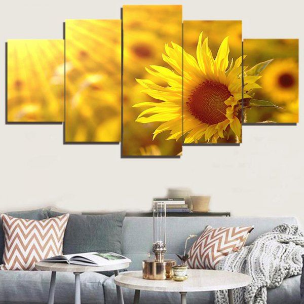 Sunflower Print Unframed Canvas Painting - Ginger - 1pc:8*20,2pcs:8 ...