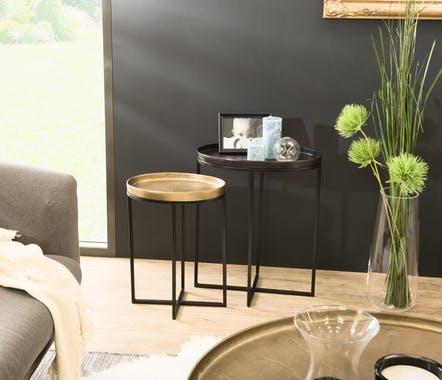 Table D Appoint Ovale Noir Et Or Lot De 2 Zala Table D Appoint Bout De Canape Decoration Maison