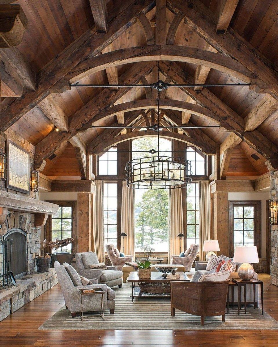 The Best Vaulted Ceiling Living Room Design Ideas 01 Trendehouse Vaulted Ceiling Living Room Rustic Cabin Rustic Living Room Design
