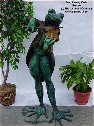 Beautiful Frog Violinist | Garden Statues | Garden Sculptures | Life Size .