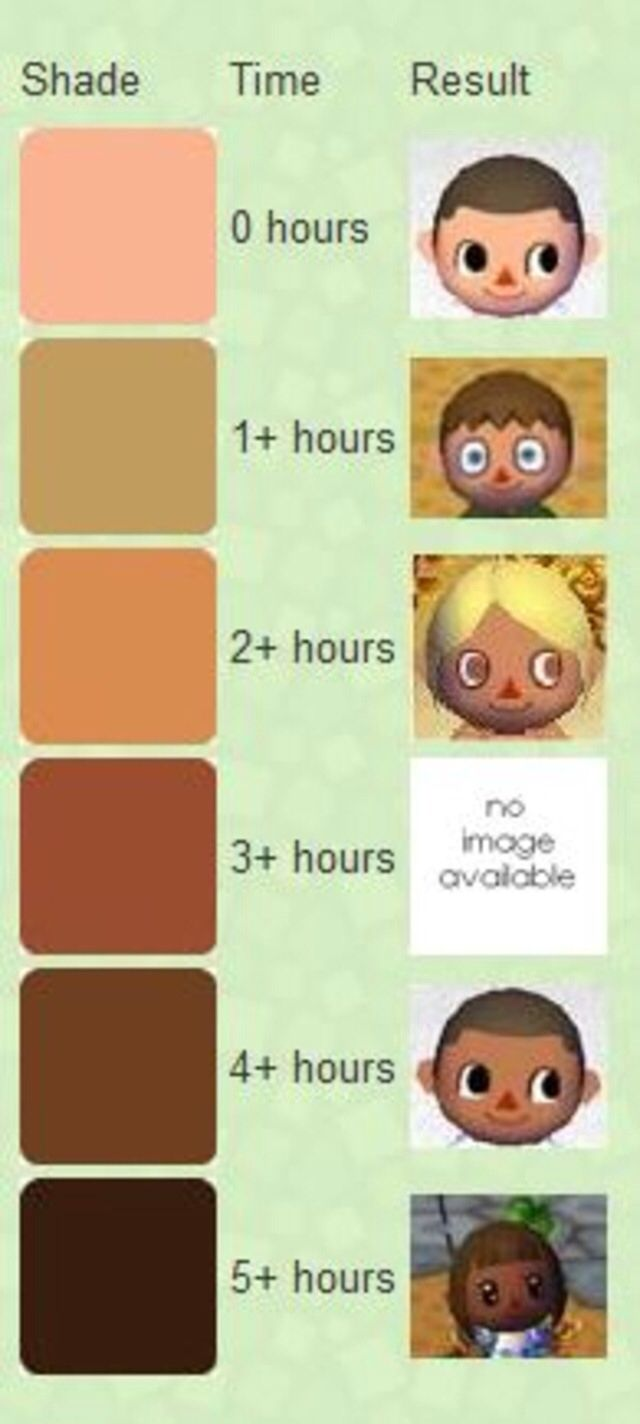 Acnl Tanning Guide Animal Crossing Animal Crossing Hair Acnl Hair Guide