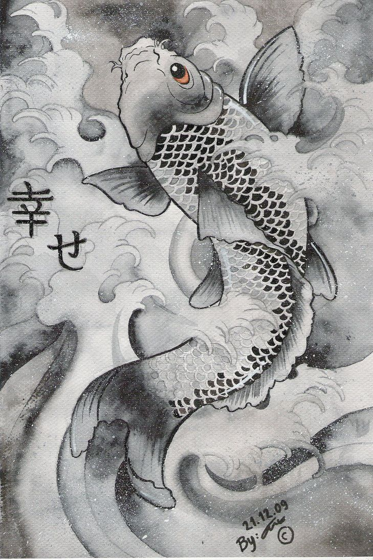 Nice movement in contemporary painting of Japanese Carp by ~DaChan1