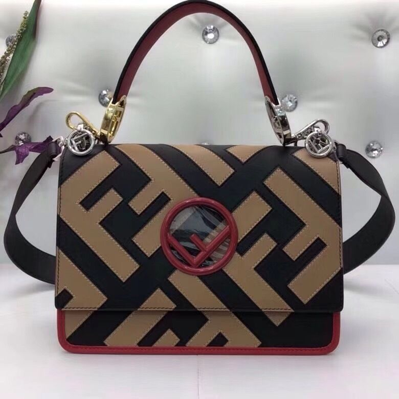 professional sale for whole family ever popular Fendi Calfskin Kan I F Bag With Exotic Details Black/Brown ...