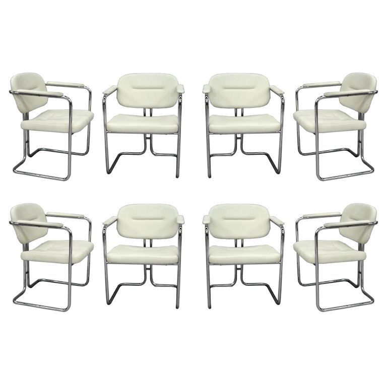View This Item And Discover Similar Dining Room Chairs For Sale At   Set Of  Eight White Leather Dining Chairs On Chrome Frame Dux Company