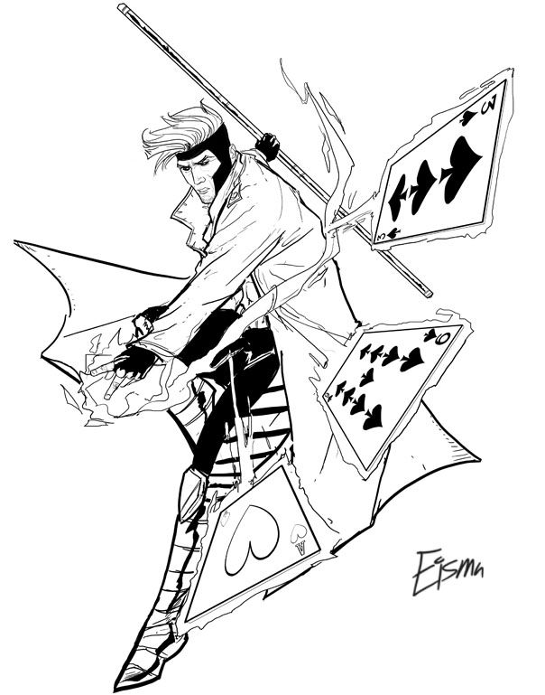 Gambit by Supajoe on DeviantArt LineArt Gambit (X-men - copy coloring pages games superhero