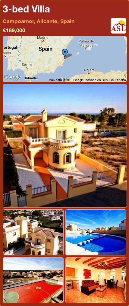 3 Bed Villa In Campoamor Alicante Spain 189 000 Propertyforsaleinspain Villa Alicante Mallorca