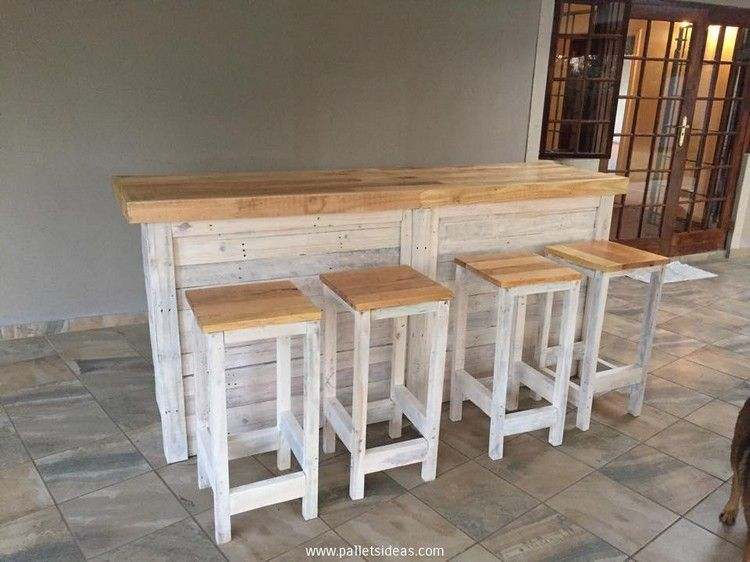 Wooden Pallet Stool Plans Bar Counter Pallets And Stools