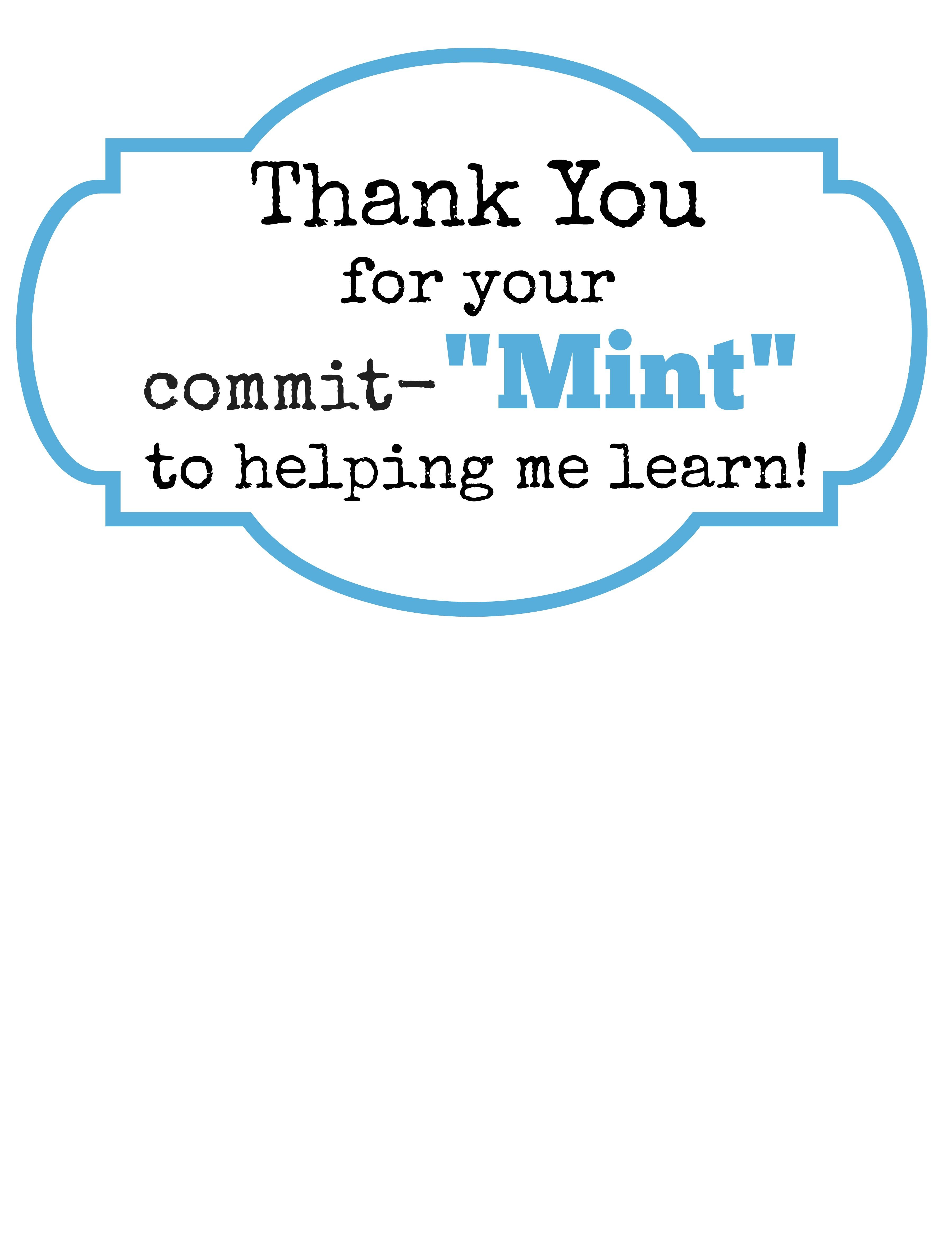 Decisive Thank You For Your Commit Mint Printable