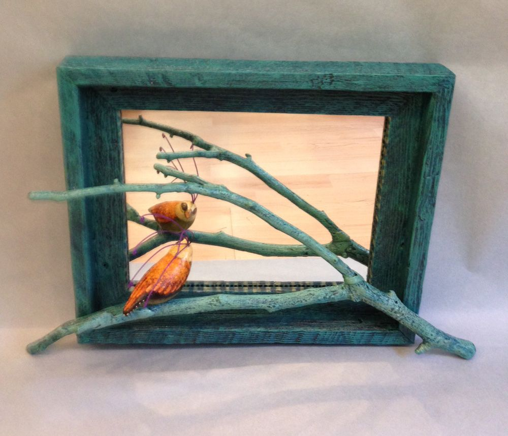 """Fabulous folk art mirror with yellow bird on painted branch...one of a kind and handmade in the US  13""""T by 11""""W  $470 includes free shipping"""
