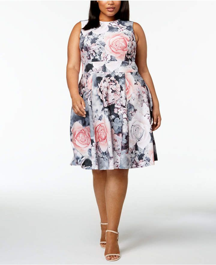 8825eae8a2e Calvin Klein Plus Size Floral-Print Fit and Flare Dress