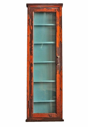 Vintage Tall Cabinet With Glass Door   $355.
