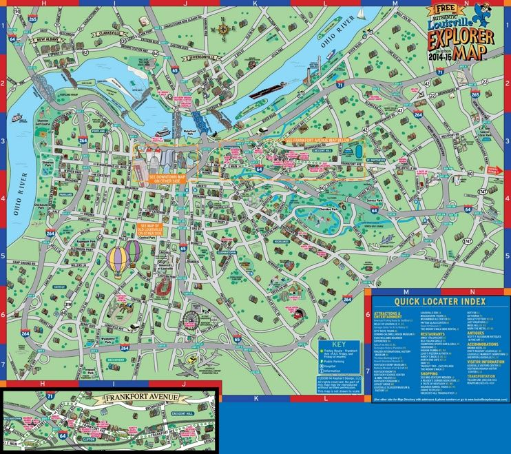 Louisville tourist attractions map Maps Pinterest Usa cities