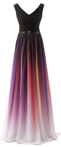 Eudolah Women's Long Chiffon Gradient Formal/Evening Dresses V Black Purple Size 6