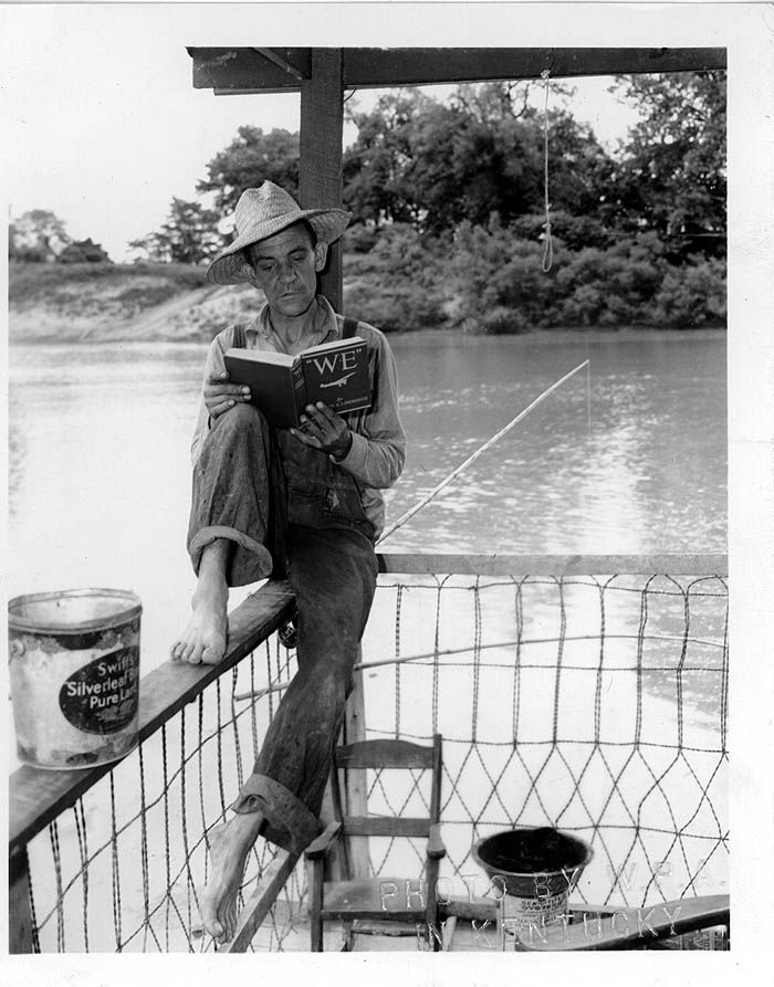 Ferryman waiting for customers, Webster County, KY, 1930s