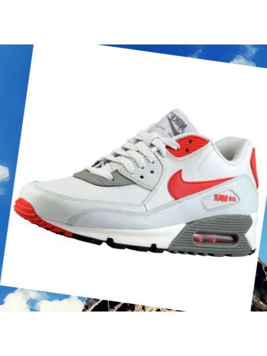 reputable site 5a716 888a8 Nike Air Max 90 Essential Cuir Hommes Lumière Gris Argent Rouge Noir  Chaussures 37384026  ANadT
