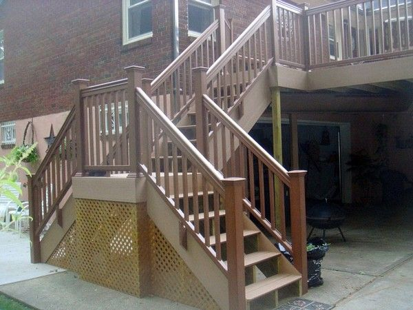 Elevated deck leading down to unique double staircase
