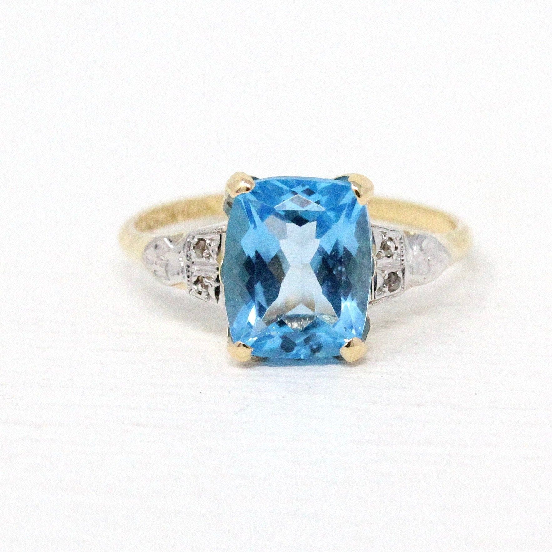 Blue Topaz Ring Vintage 10k Yellow Gold Swiss Blue Gemstone Art Deco 1940s Dason Size 7 4 1 Blue Topaz Ring Beautiful Rings Vintage Antique Rings Vintage