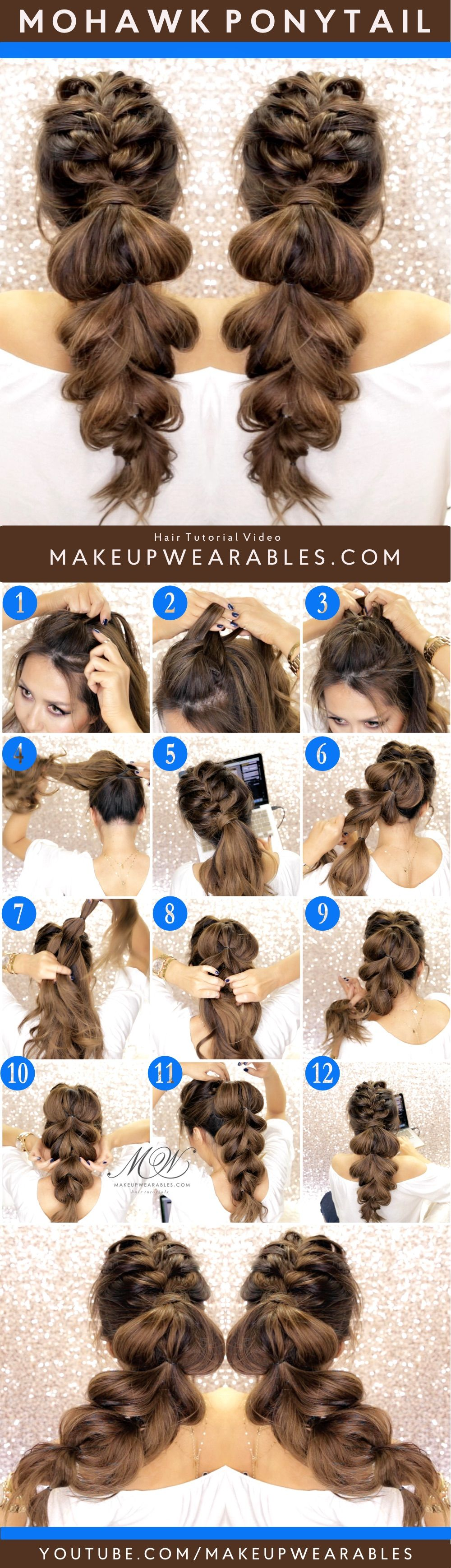 How to do a cute mohawk braid ponytail hairstyle for long medium