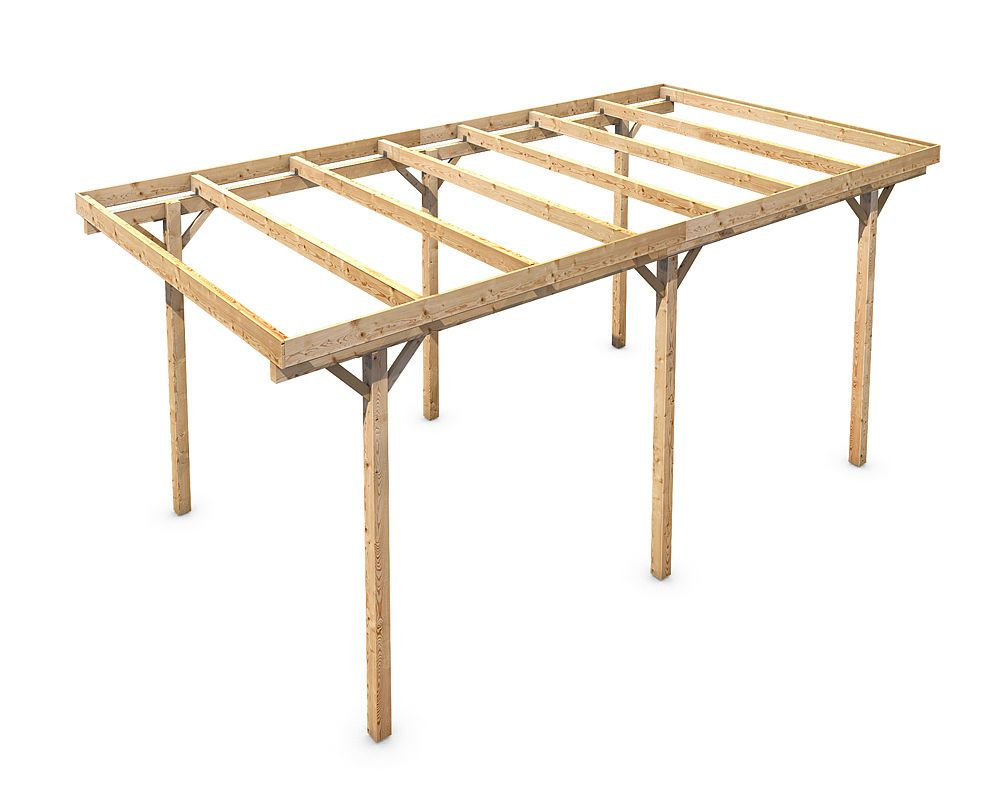 Freestanding Solid Wood Carport Flat Roof Kvh 3000x5000mm Stable Durable Timber Flat Roof Carport Designs Carport