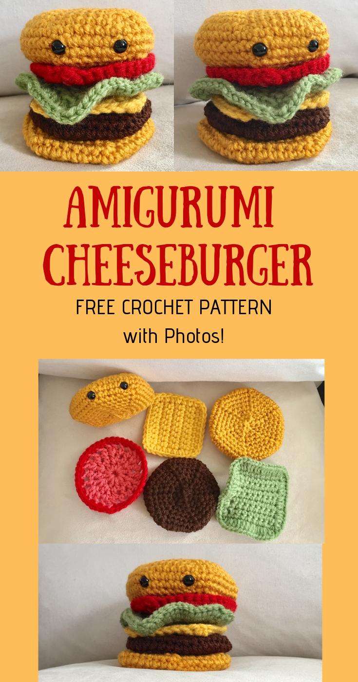 Amigurumi Cheeseburger Play Food - FREE Crochet Pattern!