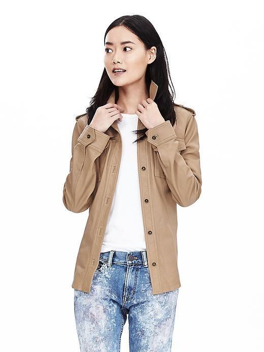 b8d8ffc02 Heritage Leather Shirt Jacket | Fashionista | Jackets, Shirt jacket ...