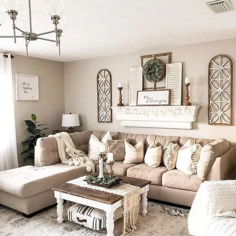 18 Best Farmhouse Wall Decor For Your Amazing Living Room Farmhouse Walldecor Livingr Wall Decor Living Room Living Room Sofa Design Farm House Living Room